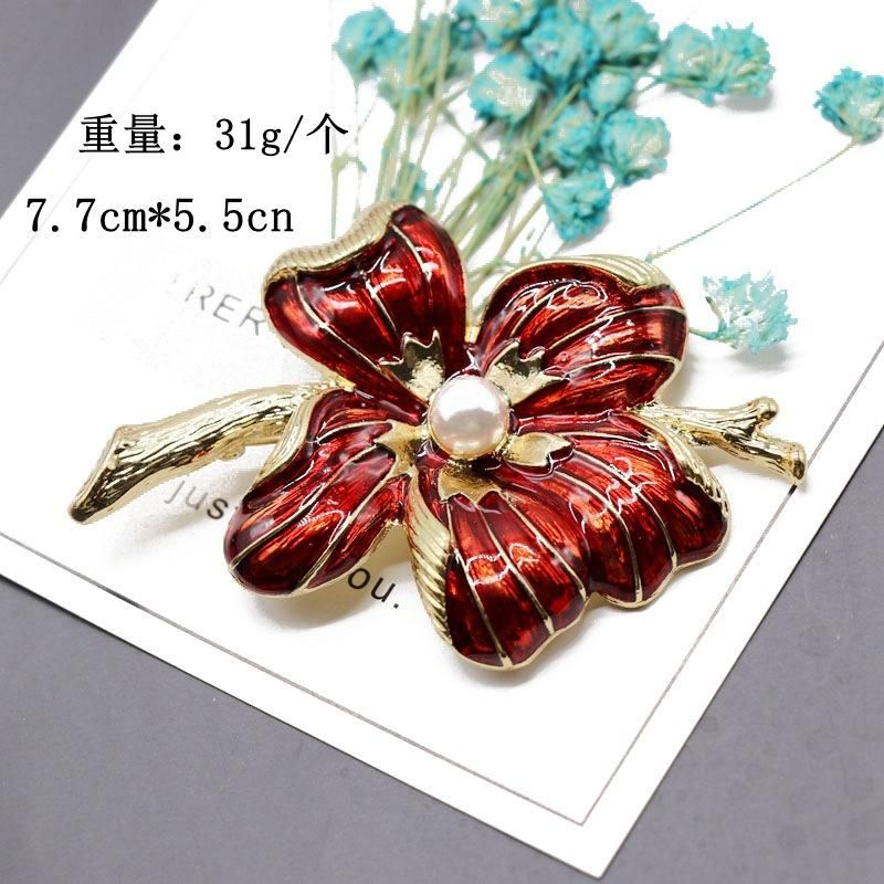 Red flower atmospheric brooch pin coat coat pin plant element alloy brooch NHOM174113