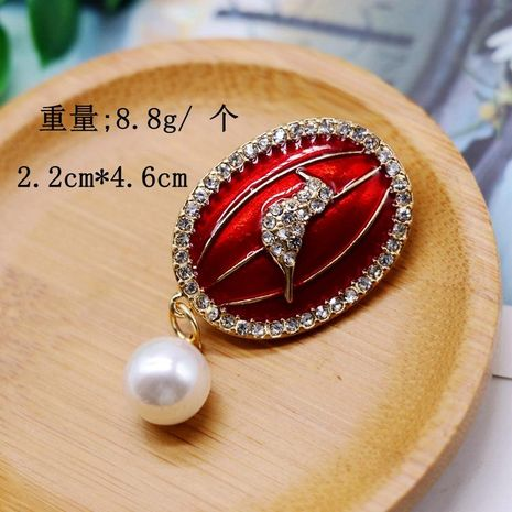 Red drip brooch animal cute shape pin pearl brooch NHOM174117's discount tags