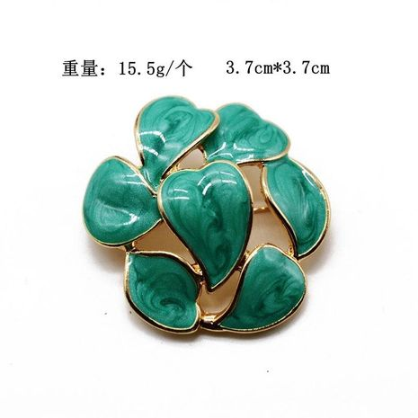 Fresh green leaves round pin brooch color drop glaze pin pendant dual-use models NHOM174121's discount tags