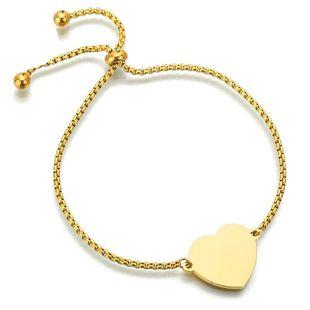 Pulsera fina de corazón pulido pulsera de letras de personalidad de amor ajustable de acero inoxidable NHHF173835's discount tags