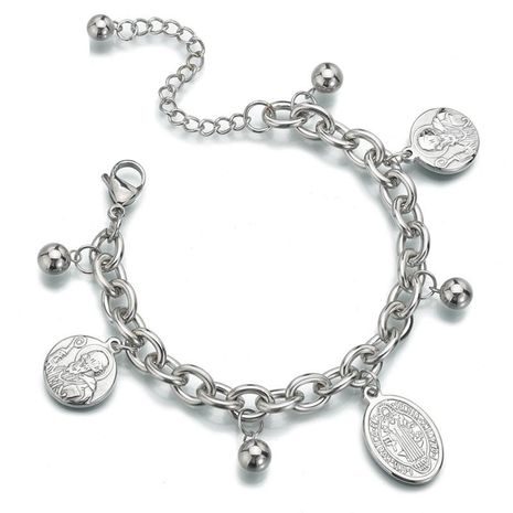 Titanium steel retro personality Jesus bracelet double-sided corrosion old man steel ball adjustable bracelet NHHF173844's discount tags