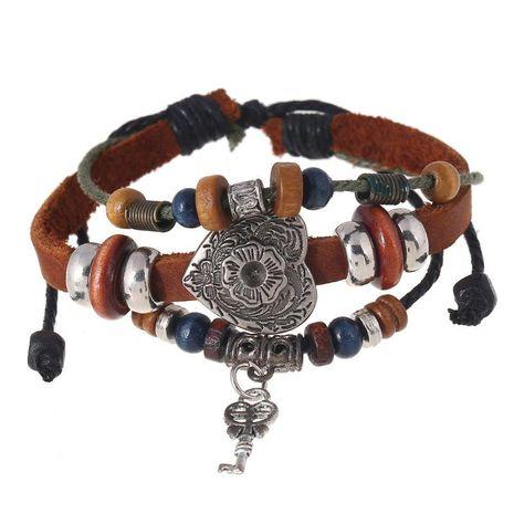 Handmade Jewelry Leather Beaded Bracelet Bracelet Men's Leather Bracelet NHPK173903's discount tags
