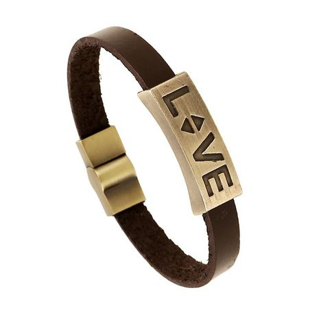 Alloy leather bracelet LOVE couple leather bracelet retro jewelry NHPK173904's discount tags