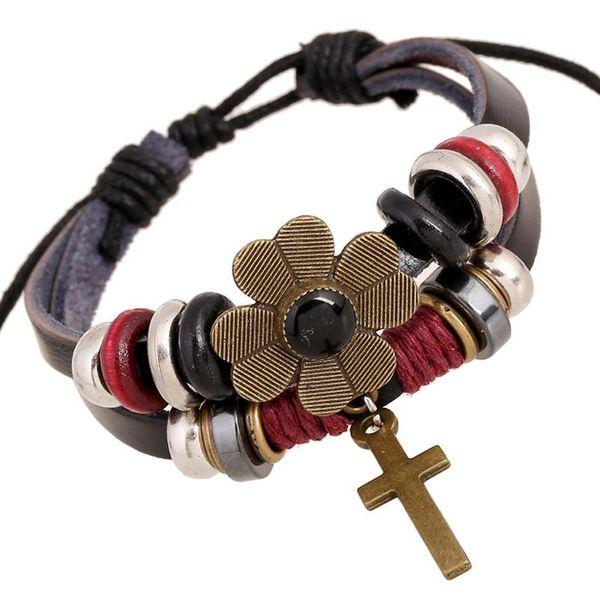 Handmade string beads woven leather bracelet alloy cross bracelet NHPK173910