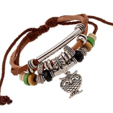 Owl pendant beaded leather bracelet men's multi-layer leather bracelet NHPK173911's discount tags
