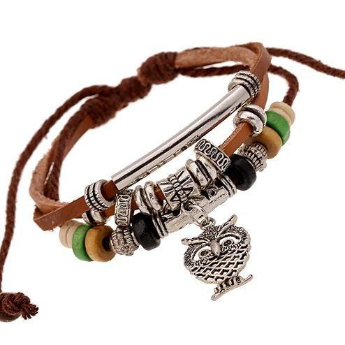 Owl pendant beaded leather bracelet mens multilayer leather bracelet NHPK173911