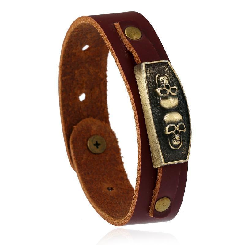 Leather bracelet retro European and American men's leather bracelet skull NHPK173913