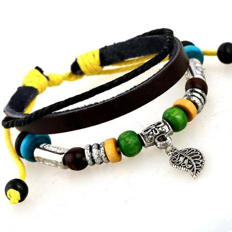 Jewelry Leather Bracelet Leaf Leather Bracelet NHPK173915's discount tags