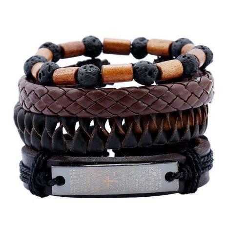 Leather bracelet leather suit men's bracelet volcanic stone wooden beads vintage weaving NHPK173916's discount tags