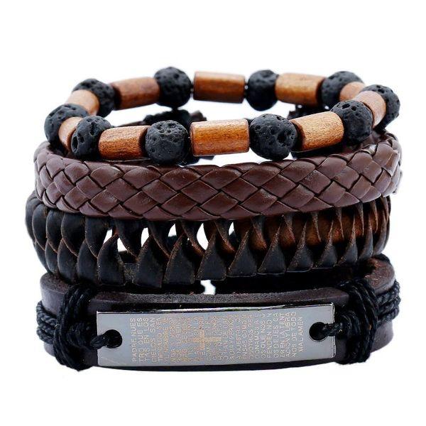 Pulsera de cuero traje de cuero pulsera de hombre piedra volcánica cuentas de madera tejido vintage NHPK173916