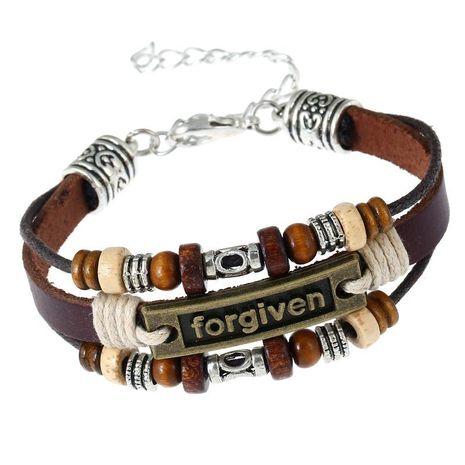 Beaded Vintage Leather Men's Bracelet Jewelry Alloy Leather Bracelet NHPK173919's discount tags