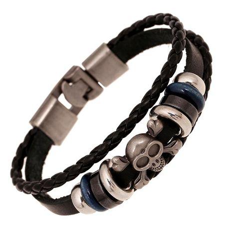 Punk bracelet leather handmade vintage leather bracelet NHPK173923's discount tags