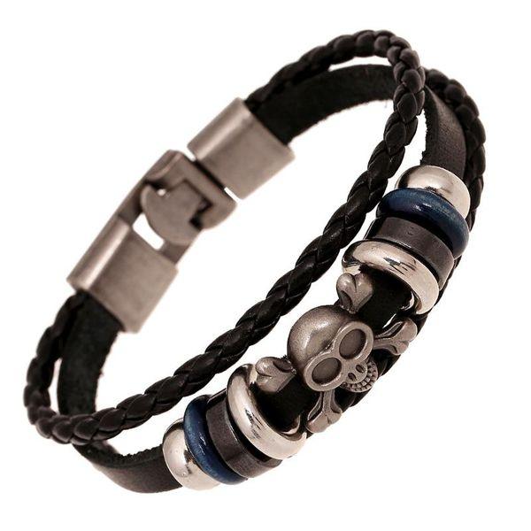 Pulsera punk de cuero hecha a mano pulsera de cuero vintage NHPK173923