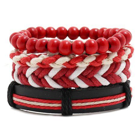 Punk new color wax line weave four sets of girls bracelet simple diy multi-root combination leather bracelet NHPK173926's discount tags