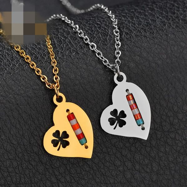 New creative lucky hollow four-leaf clover necklace stainless steel heart-shaped colored rice beads necklace NHHF173836