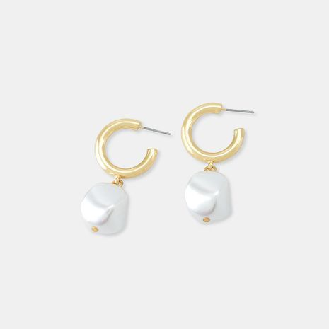Stud earrings geometric simple fashion pearl circle C word earrings female NHQS173986's discount tags