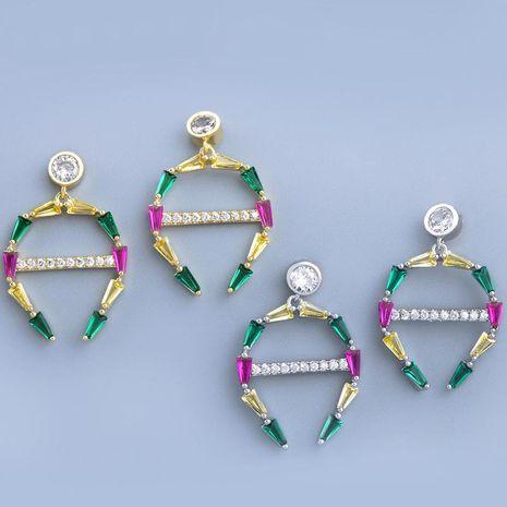 Earrings hypoallergenic s925 silver needle full diamond geometric fashion girls ear jewelry NHAS173983's discount tags