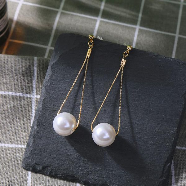 Simple earrings fashion new geometric earrings female long section pearl earrings NHQD174019