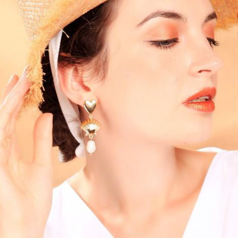 Simple heart-shaped earrings s925 silver earrings new shell pearl earrings NHQD174032's discount tags