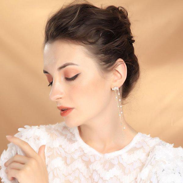 925 sterling silver earrings pearl earrings long section face thin tassel earrings NHQD174037