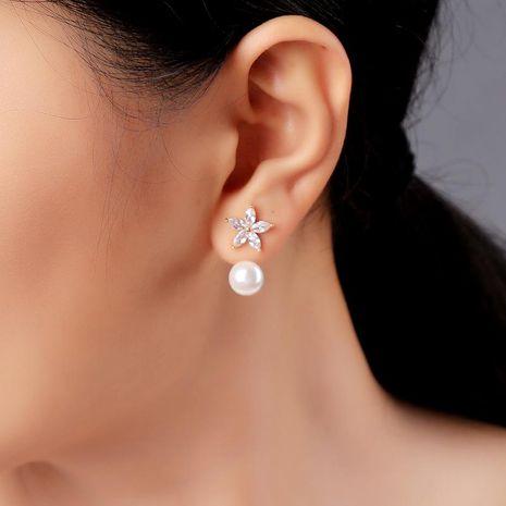 Zircon Flower Earrings Pearl Pendant Detachable Earring Pendant NHQD174034's discount tags
