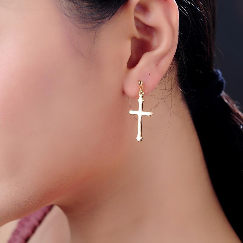 Simple earrings fashion cross stud earrings NHQD174051