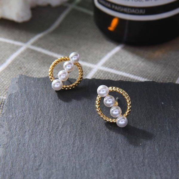 Girly Earrings Openwork Ring Stud Earrings Pearl Earrings NHQD174053
