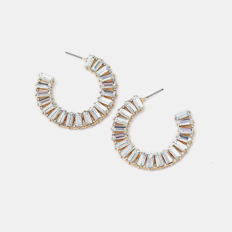 Earrings full of diamonds luxury crystal C-shaped rhinestone jewelry female NHQS174003