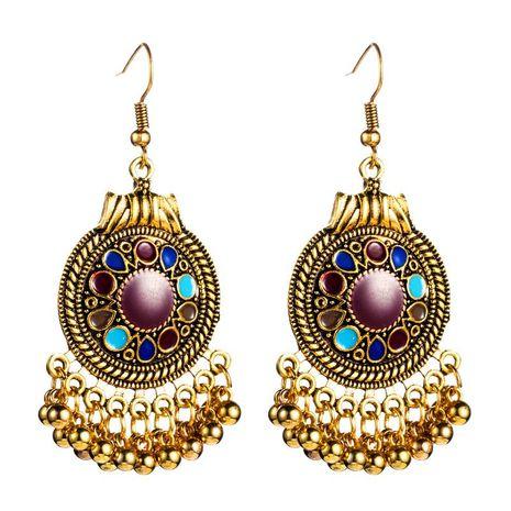Vintage earrings female alloy geometry tassel earrings drop oil hollow earrings NHLN173950's discount tags