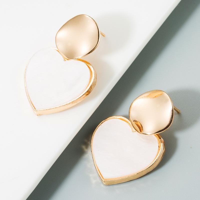 Fashion heart-shaped earrings female geometric personality simple acrylic earrings NHLN173952