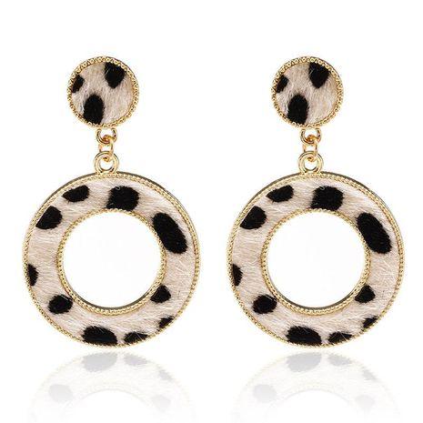 Suede Leopard Print Circle Cutout Earrings Women Fashion Trend Stud Earrings NHPF173970's discount tags
