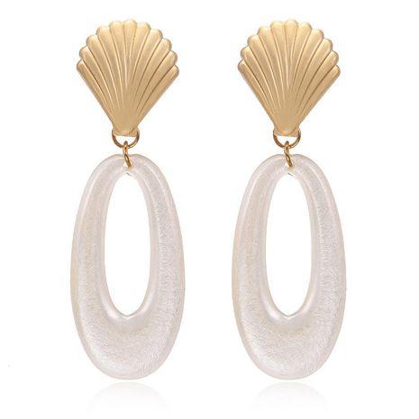 Nouveau créatif métal pétoncle boucles d'oreilles ovale creux résine boucles d'oreilles mode petites boucles d'oreilles NHPF173974's discount tags