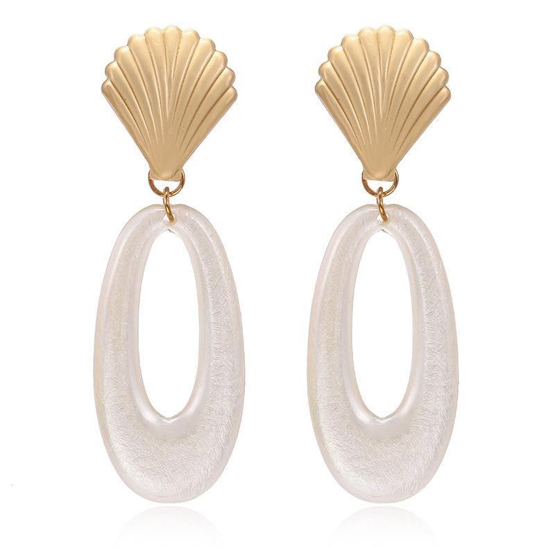 New creative metal scallop earrings oval hollow resin earrings fashion small earrings NHPF173974