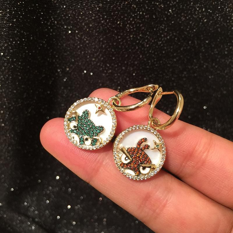 Fashion creative shell cartoon frog bird earrings star circle earrings NHWK173850