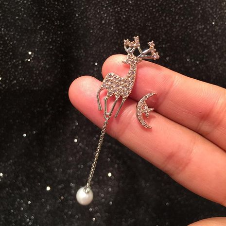 S925 Silver Needle Fawn Earrings Pearl Tassel Asymmetric Star Moon Earrings NHWK173851's discount tags
