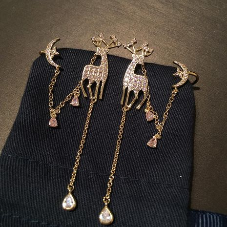 S925 silver needle Christmas deer long tassel earrings pink star moon ear bone clip earrings NHWK173862's discount tags