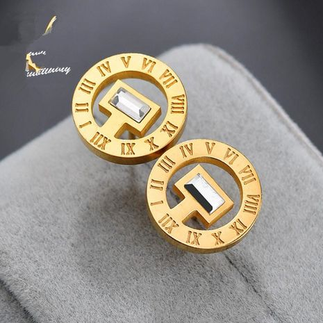 Roman numerals earrings stainless steel hollow square diamond ring earrings NHHF173839's discount tags
