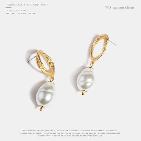 Imitation pearl earrings female new long hand made alloy jewelry NHQS174011's discount tags