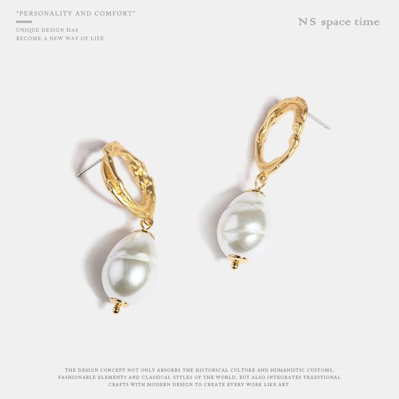 Imitation pearl earrings female new long hand made alloy jewelry NHQS174011