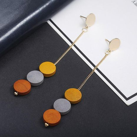 Long geometric color matching round wood earrings Christmas pendant simple earrings NHPF173960's discount tags