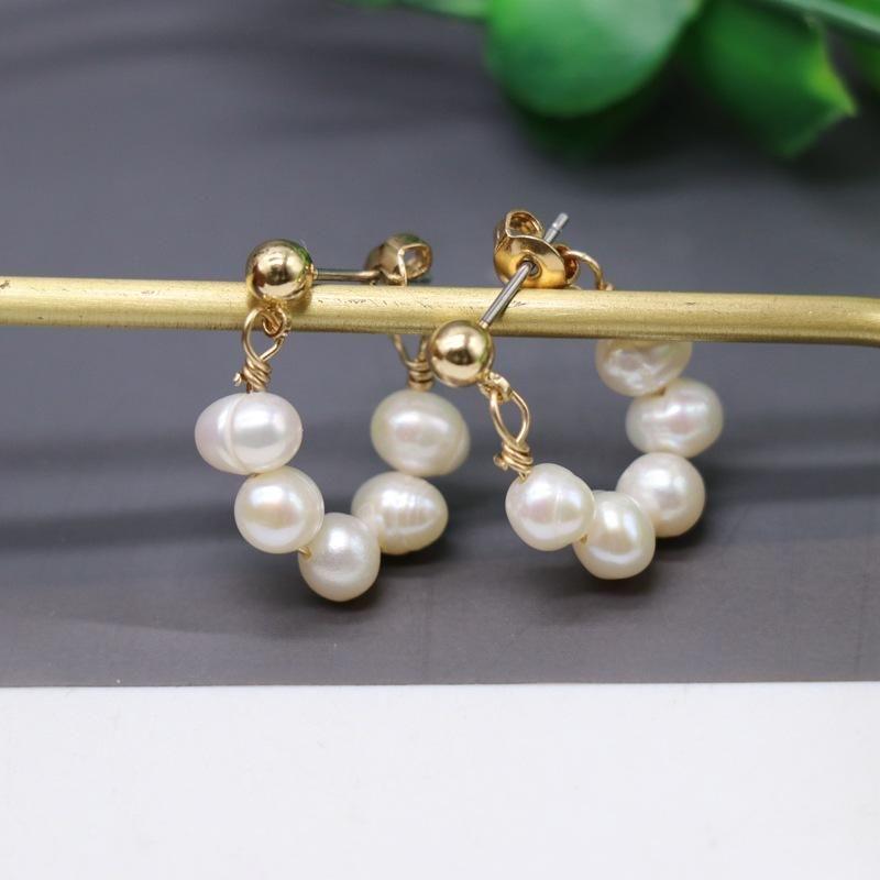 Multiple small pearl stud earrings NHOM174110