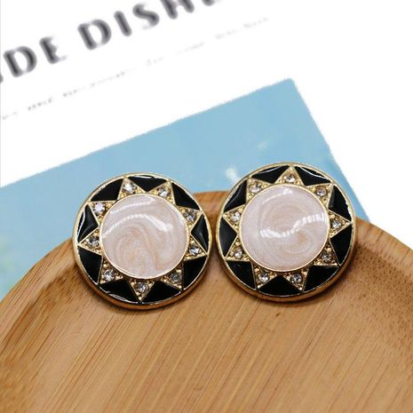 Stud earrings round drop oil 925 silver needle ear stud ear clip flower type small drill NHOM174111's discount tags