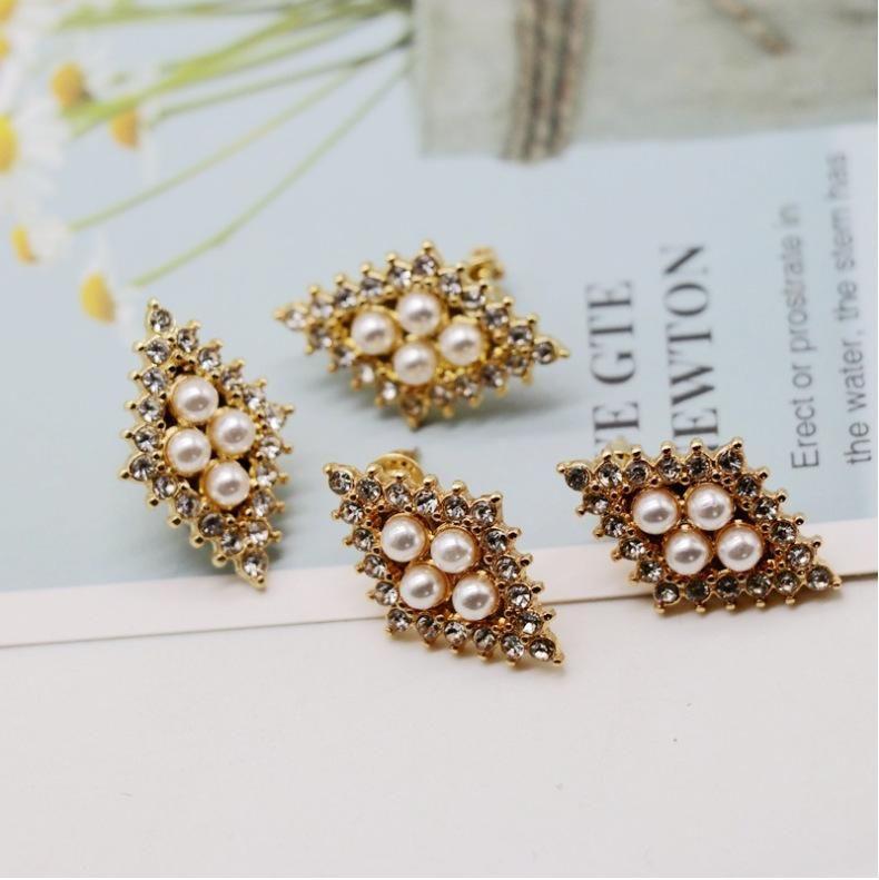 Small pearl broken diamond ear clip ear clip gold diamond shaped pearl diamond 925 silver needle ear clip ear clip NHOM174120
