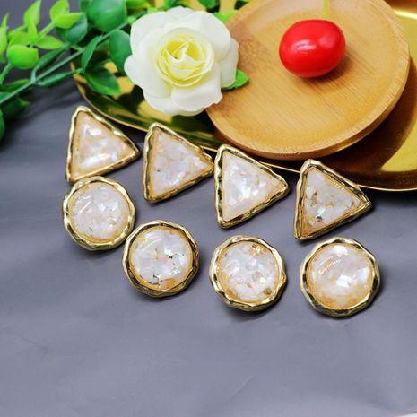 Stud Earrings Round Triangle Stud Earrings Ear Clips 925 Silver Needle NHOM174122's discount tags