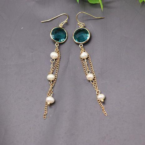 Natural Pearl Tassel Earrings Green Cut Glass 16k Gold Earrings NHOM174124's discount tags