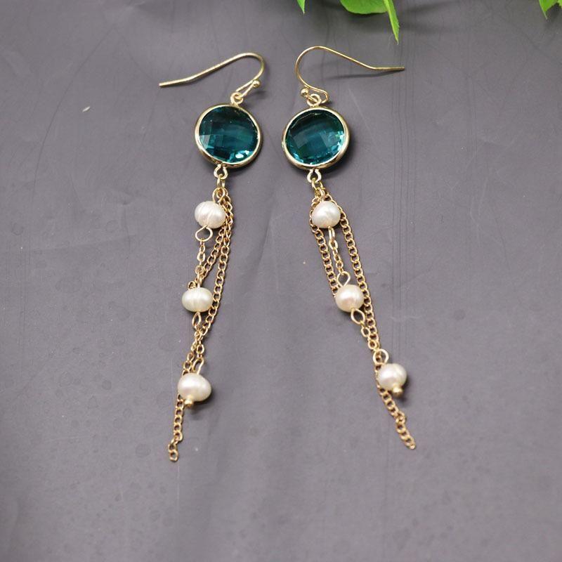Natural Pearl Tassel Earrings Green Cut Glass 16k Gold Earrings NHOM174124