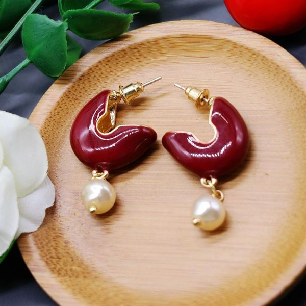 Vintage retro antique wine red pearl pendant 925 silver needle earrings wild temperament pearl earrings NHOM174126