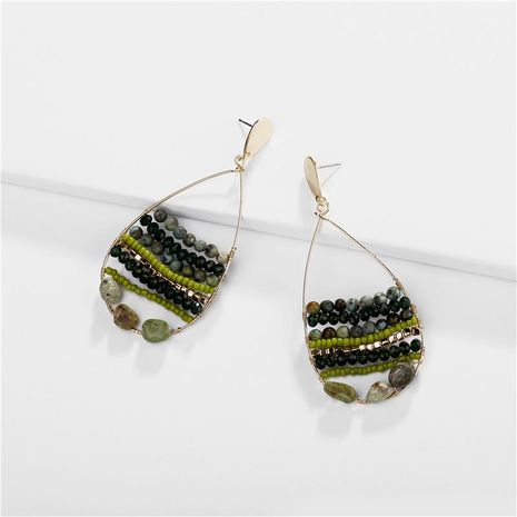 Jewelry earrings natural stone beads rice beads hollow female drops earrings new NHLU174083's discount tags