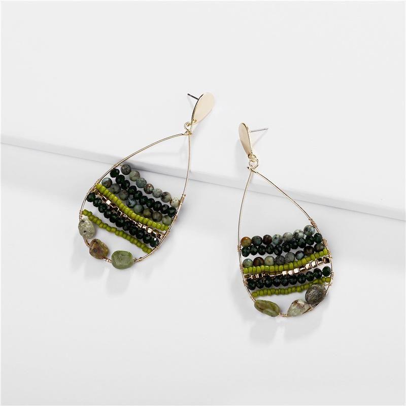 Jewelry earrings natural stone beads rice beads hollow female drops earrings new NHLU174083