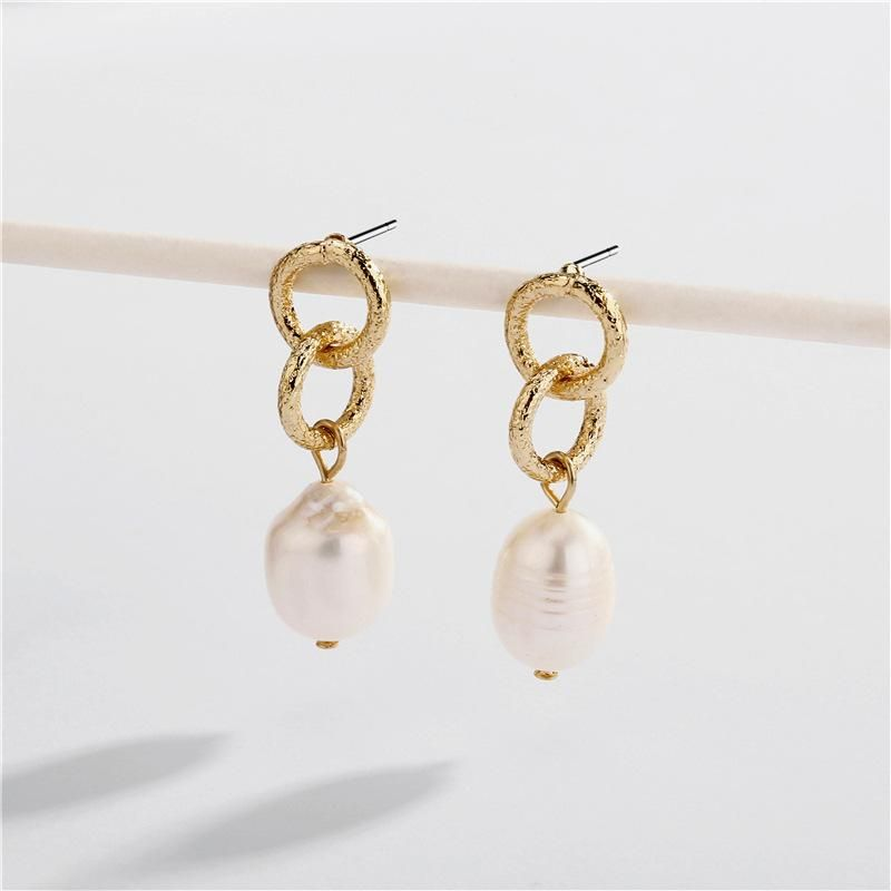 Earrings beaten circle natural shell pearl pendant female earrings NHLU174084